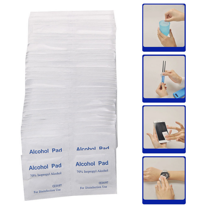 100pcs/Box Portable Alcohol Swabs Pads Wipes Antiseptic Cleanser Cleaning Sterilization First Aid Home Makeup Antibacterial Tool