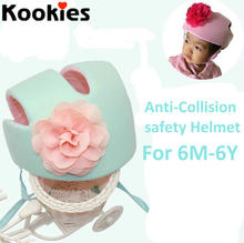 6M-6Years Baby Boys Girls Pink Green Color Flower Hat Infants Safety Helmet Soft Comfortable Adjustable  Anti-Collision Hat