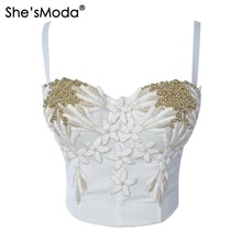 She'sModa New Pearls Appliques Floral Bustier Corselet Push Up Women's Bralette Crop Top Camis Vest Plus Size