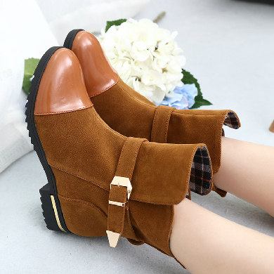 Spring And Autumn Boots Women Shoes Ankle Boots Short Shoes Flat Metal Buckle Flat Heel Round Toe Boots Fashion<br><br>Aliexpress