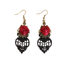 F&U New Fashion Gothic Dangle Earrings Medieval Retro Vampire Red Rose Lace Elegant Party Costume Ball Drop Earrings for Women