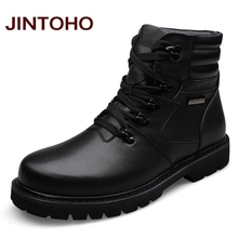 JINTOHO Big Size Men Leather Boots Winter Warm Men Motorcycle Boots 100% Real Leather Men Ankle Boots Glitter Genuine Leather