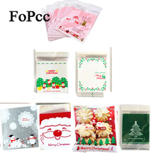 25Pcs Christmas Plastic Gift Bags Self-adhesive Cookies Packaging Bags Biscuits Snack Candy Cake Packing Bags Xmas Party Favors(China)