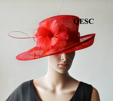 NEW Red  wide brim Sinamay fascinator Hat kentucky derby hat Formal dress hat for church,Races.wedding.