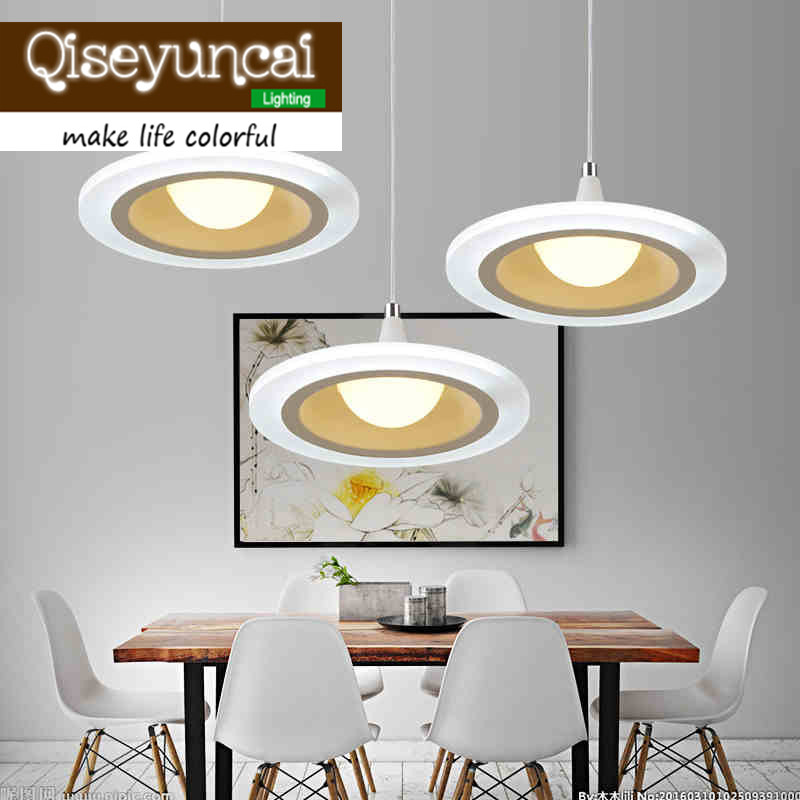 Qiseyuncai LED restaurant chandelier modern minimalist round three head living room bar table acrylic lighting<br>