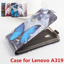 100% High Quality Leather Case For Lenovo A319 Flip Cover Case housing For Lenovo A 319 Leather Cover Mobile Phone Cases(China)