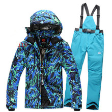 Waterproof Men Ski Suit Thicken Snow Board Jackets Chaqueta Esqui Hombre Ski Clothing Male Snowboard Pants Warm Snow Trousers