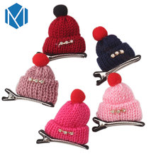 M MISM Children Novelty Small Hat Hair Clips Christmas Gift Beanies Hairgrip Cute Woolen Hairpins Kids Girls Hair Accessories
