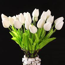 T-Best Price 10 pcs White Tulip Flower Latex For Wedding Bouquet KC456 - white(China)