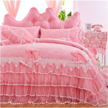 Free shipping Korean princess lace bedspread wedding bedskirt set red/pink/purple bedding no filler twin full queen king size(China)