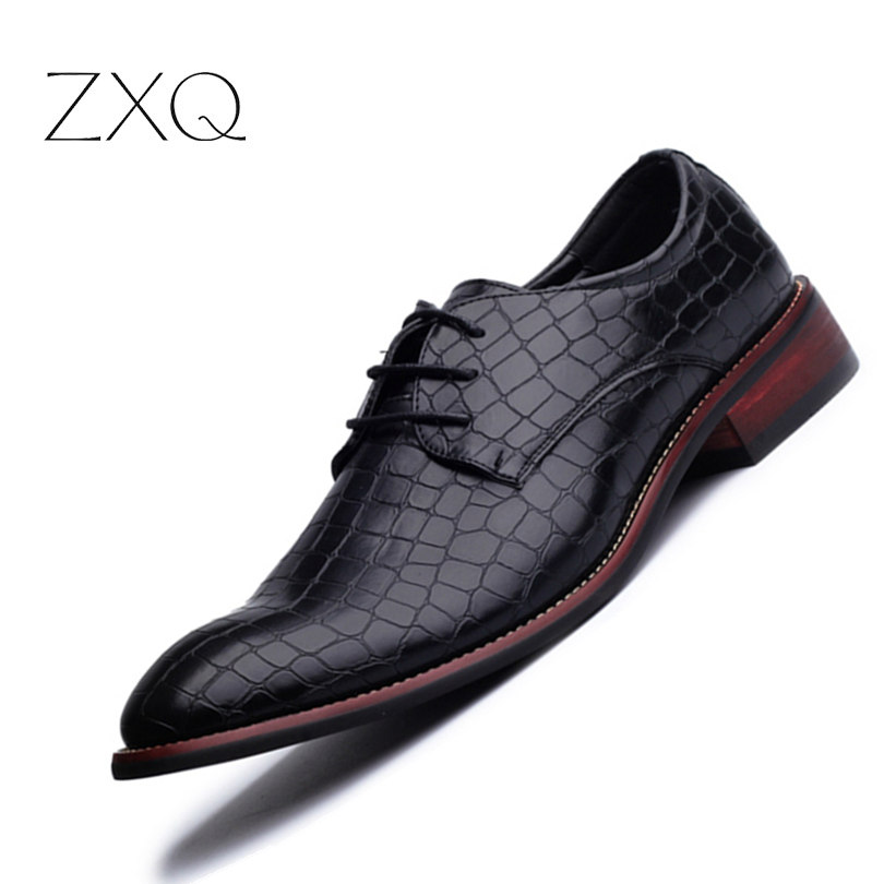 New Fashion Men Pointed Toe Crocodile Design Wedding Shoes Tide Casual Business Formal Men Dress Shoes Black Size 38-43<br>