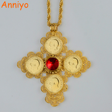 Anniyo Ethiopian Big Cross Pendants Necklaces Women/Men Gold Color Jewelry Africa Coin Cross/Eritrea Habesha Necklace #044202(China)