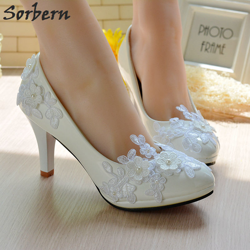 Sorbern Plum Blossom Flower Wedding Shoes High Heels Bridal Pump Shoes Lace Appliques Beads Elegant Bridesmaid Girls Party Shoes<br>