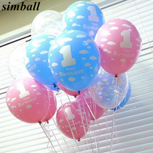 10pcs/lot Latex Balloons Baby 1st First Birthday Celebration Girl Boy Printed Ballon Number 1 Children Birthday Party Decoration(China)