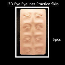 5 PCS Tattoo Practice Skin 3D Cosmetic Permanent Makeup Eye Eyeliner Skin Silicone For Tattoo Manual Microblading Pen Needles(China)