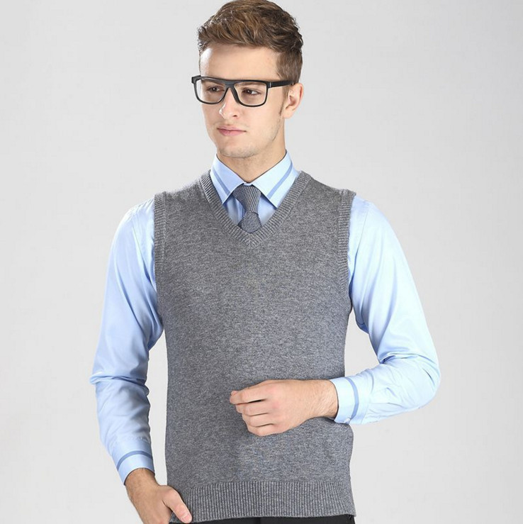 2019 New Men sleeveless knitted Vest Business casual warm Men sweaters 345#