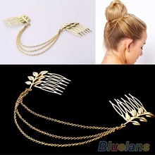 Hot Womens Personality Chic Gold Tone Leaf Hair Cuff Chain Comb Headband Hair Piece 77HB(China)