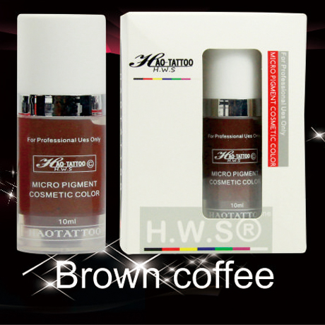 1Pcs Top Professional Vacuum Aseptic Makeup Pigment 10ml/bottle Brown coffee Permanent Makeup Tattoo Ink With Box<br>