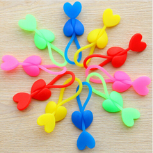 Cute Heart-shaped  Silicone Food Bag Sealing Clip Tie Beam Port Bundled 2PCS #3854