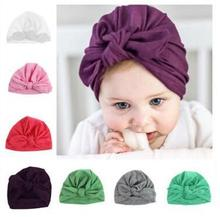 10pcs baby turban hat with bow turbans for tots baby girls bow hats Toddler beanie hat Photography Props(China)