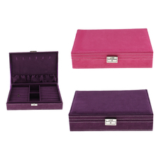 Soft Velvet Jewellery Box Case Holder Earring Necklace Bracelet Trinkets Storage Organizer Rose Red/Purple 28 x 19 x 6.5cm(China)
