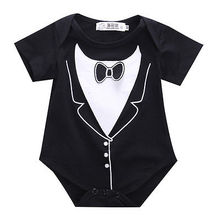 2016 Newborn Baby Boy Tuxedo Romper Jumpsuit One-pieces Gentleman Clothes newborn baby boy clothes baby boy rompers overalls