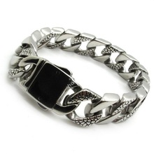 Hot Selling  316L Stainless Steel Snake Skin ID Bracelet Bangle Mens Links Chain Punk Silver Jewelry Gift