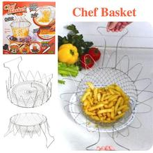 12-In-1 Foldable Stainless Steel Steam Fry Chef Basket Kitchen Tool