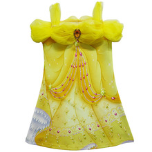 5 PCS/LOT Free shipping 2017 New High-quality Girl Cartoon Double 3D Printing Beauty and the beast Cospaly Princess Dress(China)