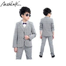 ActhInK New Gentle Boys 3PCS Vest Suit Vest+Blazer+Pant Brand Kids Formal Dress Suit Boys Wedding Suit Boys Preppy Clothes,MC140(China)