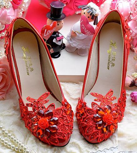 Red wedding party pumps shoes PR1852 handmade lace pearls rhinestone crystals fashion red dress pumps shoes quick shipping<br><br>Aliexpress