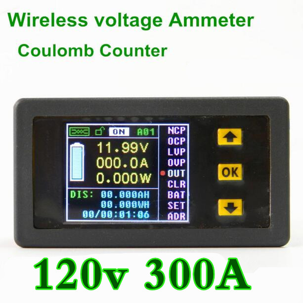 4pcs/lot VAC1300A  voltmeter  Monitor Coulomb Counter capacity voltage current power Color Digital LED display 120V/300A<br><br>Aliexpress
