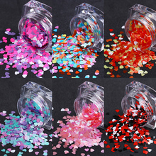 Mixed Color Nail Glitter Sequins Heart Shape Flakes Nail Paillette Pigment Dust Tips DIY 3D Nail Art Decoration for UV Gel