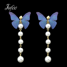 Jufee Cute Lovely Pink Blue Color Butterfly With Simulated-pearl Metal Chain Drop Earrings For Women Accessories Jewelery