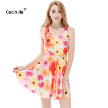 CANDICE ELSA woman dress digital printing wholesale daisy glamorous sheds Skd1154(China)