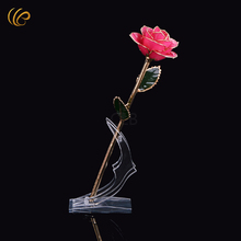 Wholesale Real Rose Dipped In 24 Carat Gold Pink Rose with  Crescent Stand and Gift Box for Valentine's Day Gift and Christmas