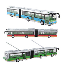 3 lengthen open the door large 40cm bus scale model alloy Sound light bus kids toys car for children christmas gift juguetes(China)