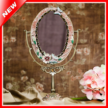 Tin Alloy Beauty Vanity Makeup Mirror For Woman Cosmetic Mirror Dressing Table Standing Mirror Home Decorative Mirror(China)