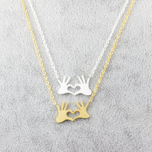 GORGEOUS TALE Stainless Steel Chain Jewelry Double Hand Love Heart Necklaces Pendants for Women Gold Statement Necklace 2017(China)