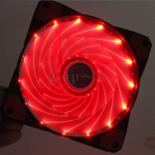 Gdstime 1piece 120mm x 25mm 12V 3pin turn 4Pin  LED Red  Light  with Fifteen lights Cooler For PC Case Cooling Fan 12025s