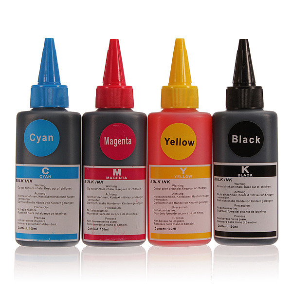 4xUniversal Dye Refill Ink For EPSON Printers for HP for Canon 100ML Ink Compatible for all printer ciss ink 4 Colors<br><br>Aliexpress