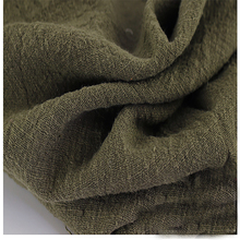 Soft Linen Cotton material army green crincle wrinkle tissue scarves dress double layer linen cotton crepe fabric By meter