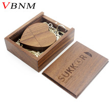 VBNM (over 5 PCS free LOGO) walnut wooden heart + gift box USB flash drive USB creative pendrive 4GB 8GB 16GB 32GB memory stick(China)
