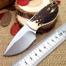 Handmade Antlers mini hunting knife 58HRC blade Leather sheath EDC outdoor survival small pocket knives Camping tools zakmes(China)