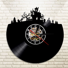1Piece Halloween Decorations Vinyl Record Wall Clock Vinyl Kitchen Clock Happy Halloween Home Decor Nusret Clock Wall Art(China)