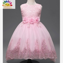 Yingwaaiyi party girl dress children costume princess lace dresses for little girls sequin dress Children clothes up for girls
