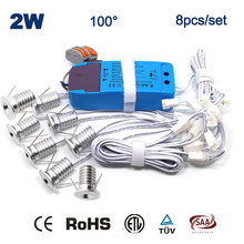 8pcs/set 2W Mini Dimmable Mini Led Spot Lamp 80Ra 180Lm 2 watt Bed Room Ceiling Lighting CE RoHS 5 Years Warranty
