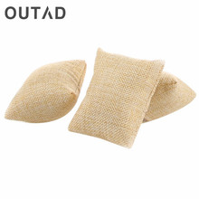 OUTAD Linen Bracelet Bangle Watch Pillow Holder Watches Case Box Velvet & Cotton Jewelry Packaging Display Gift For Friends