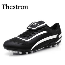 Thestron Brand Football Boots Men Boys Black White Mens Football Boots Outdoor Cheap Football Boots Soccer Cleat Design
