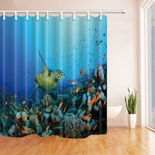 Sea Animals Shower Curtains for Bathroom, Sea Turtles Swimming with Fish in Coral, Polyester Fabric Waterproof Bath Curtain